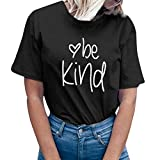 YEZIJIN Women be Kind Letter Print Short Sleeve T-Shirt Tops Blouse Tee 2019 New Under 10 Dollars Black