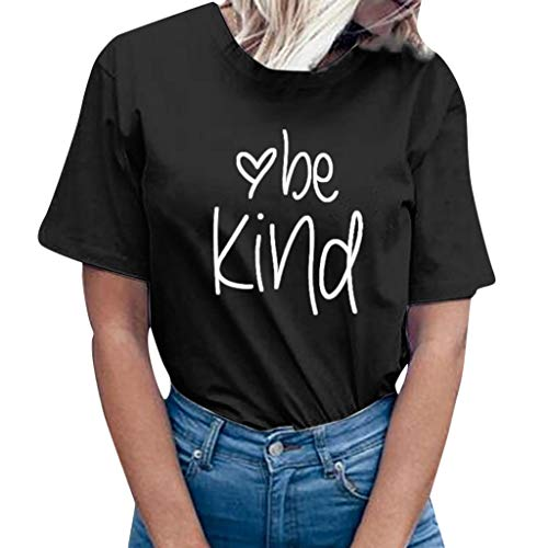 OrchidAmor Women be Kind Letter Print Short Sleeve T-Shirt Tops Blouse Tee Black