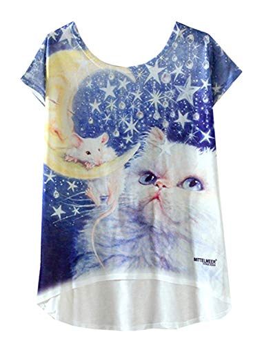 (futurino Women's Lovely Cup Cat in Teacup Print Short Sleeve T Shirt Tops)