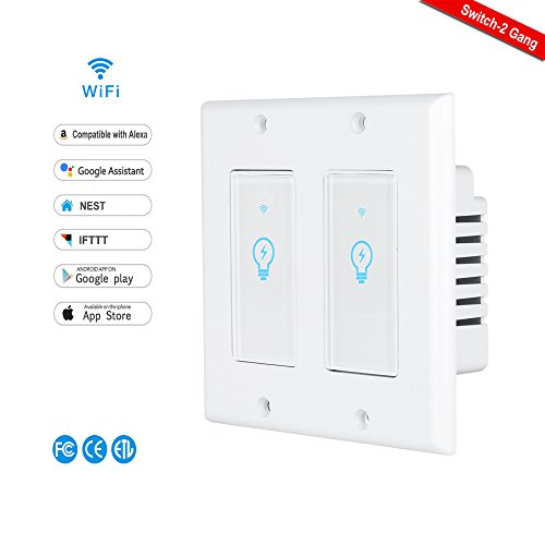 Smart Switch,LYASI Wi-Fi Light Switch In-wall Compatible with Alexa and Google Home,Remove Control Your Fixtures From Anywhere,Timing Function,No Hub Required (Smart Light Switch-2 Gang)