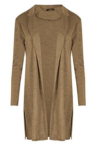Oops Outlet Pour Femmes Femmes Tricot Col Chemise Manche Longue Longueur Midi Blazer Chiffon Cardigan - Chameau, Grande taille (EU 44/46)