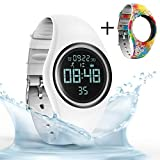 synwee Sports Fitness Tracker Watch,IP68 Waterproof, Non-Bluetooth, with Pedometer/Vibration Alarm Clock/Timer,for Kid Children Teen Boys Girls (White) ¡­