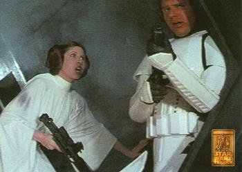 Han Solo and Princess Leia trading card (Star Wars) 1997 Merlin Special Edition #22 (Autographed Special Card Edition)
