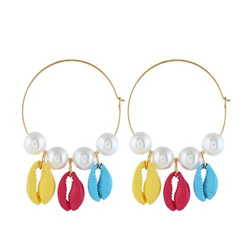 Earrings for Girls,Mebamook Simple Large Metal Pearl Natural Shell Earrings Ladies Jewelry