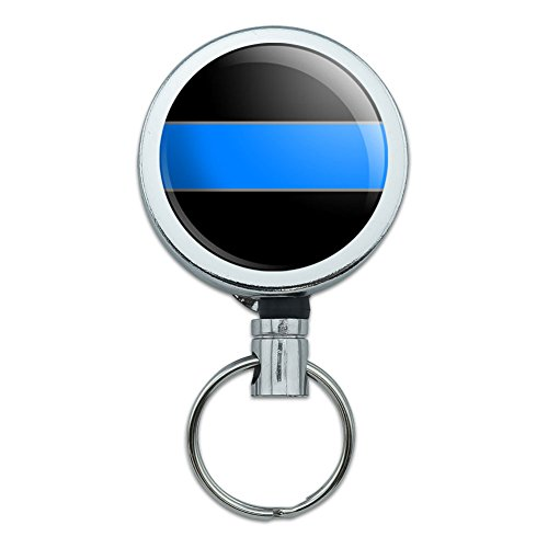 Metal Retractable Reel ID Badge Key Holder with Belt Clip Thin Blue Line Police - Thin Blue Line