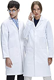 Dr. James Student Essentials Unisex Lab Coat, Classic Fit, Smartphone and Tablet Pockets, White, 40 Inch Lengt