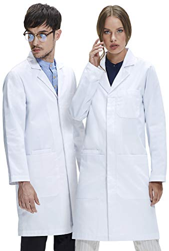 Dr. James Professional Unisex Lab Coat 39 Inch Length US-01-L,White -