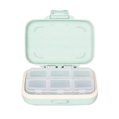 Small 6 Day Pill Case- Traveling Vitamin Medications Organizer Removable Inner Divider Safe Plastic Material 6-Compartment Pill Box- Green From Yuan She