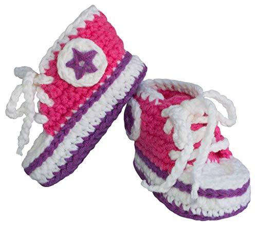 BePe Baby Infant Crochet Sneaker Socks Bootie Slipper Shoes - Deep Pink/Purple - Size 0-6 Months