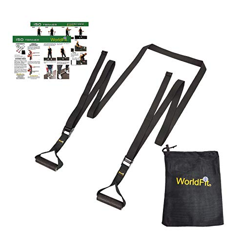 WorldFit ISO Trainer - Isometric Exercise for Strength Training, Stretching, Yoga, Pilates - a USA Company (Black)