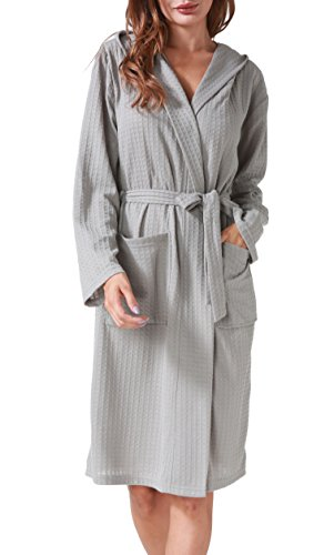 (Costyleen Women Men Hotel Spa Waffle Weave Kimono V Neck Sleepwear Bathrobe Hooded Grey M)