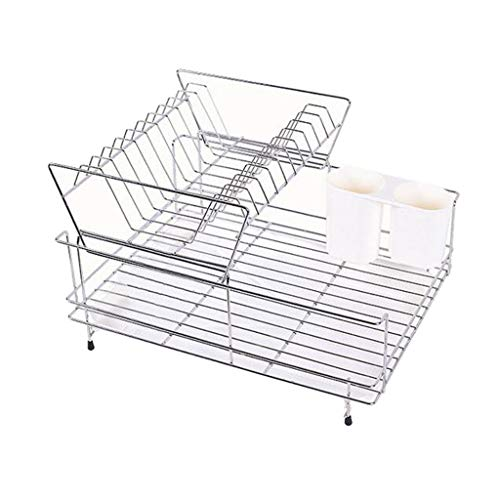 Kitchen Metal Stainless Steel Drain Drainer Rack 2 Tier Dish