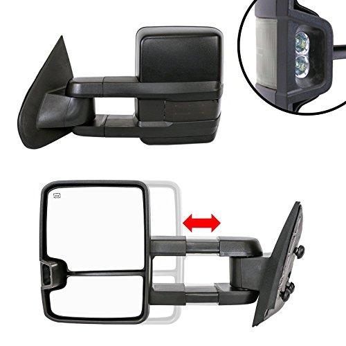 Paragon Telescopic Towing Mirrors for 2014-18 Chevy Silverado/GMC Sierra 1500 & 2015-18 Silverado/Sierra 2500/3500 - Powered, Heated, Smoke Turn Signals, Marker Lights - Black Pair Set (Manual Telescopic Towing Mirrors)