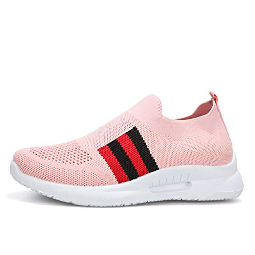 〓COOlCCI〓Women's Fashion Sneakers,Women's Slip-On Shoes Casual Mesh Walking Sneakers Comfortable Shoes Loafers Oxfords Pink