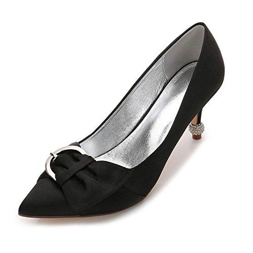 L@YC Zapatos de Boda de Las Mujeres F17767-26 Confort Basic Pump Verano Satinado Vestido de Novia Party & Evening Ribbon Black