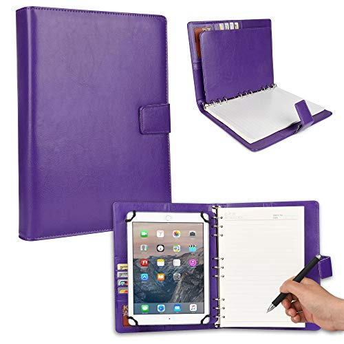 - Cooper FOLDERTAB Padfolio Case Compatible with Samsung Galaxy Tab 4 10.1   Leather Business Executive Organizer with Notepad Binder   Left Right Handed, Notebook, Pockets (Purple)