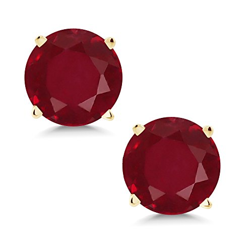 14k Earrings Stone Natural (14K Yellow Gold Red Ruby Stud Earrings 2.00 Ctw Gemstone Birthstone Round 6MM)