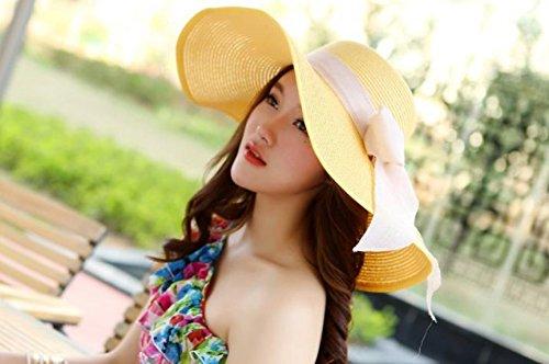 Qingsun Femmes Filles Pliable Paille Chapeau de soleil, Large bord Sun Visière Chapeau de seau, Casquette de Plage d'été avec Big Bowknot Décoration pour Loisirs Tourisme(Jaune)