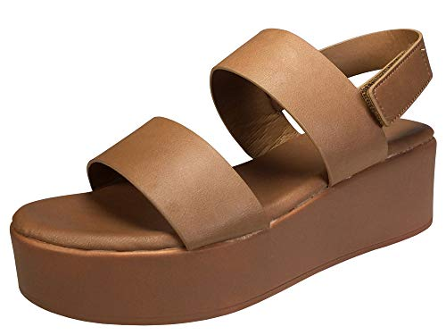 BAMBOO Women's Double Band Platform Footbed Sandal with Ankle Strap, Tan PU, 6.0 B (M) US ()