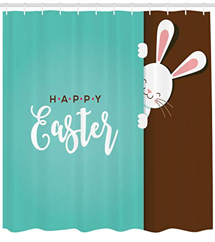 Lunarable Rabbit Shower Curtain, Happy Easter Bunny Looking from The Edge of Blue Background Peekaboo Animal, Fabric Bathroom Decor Set with Hooks, 105 Inches Extra Wide, Seafoam Bronze ()