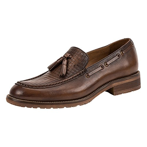 Adult On 1bacha Leather Coffee Weave Shoes Slip Loafer Tortor Tassel Unisex Brown fx0dqwnO
