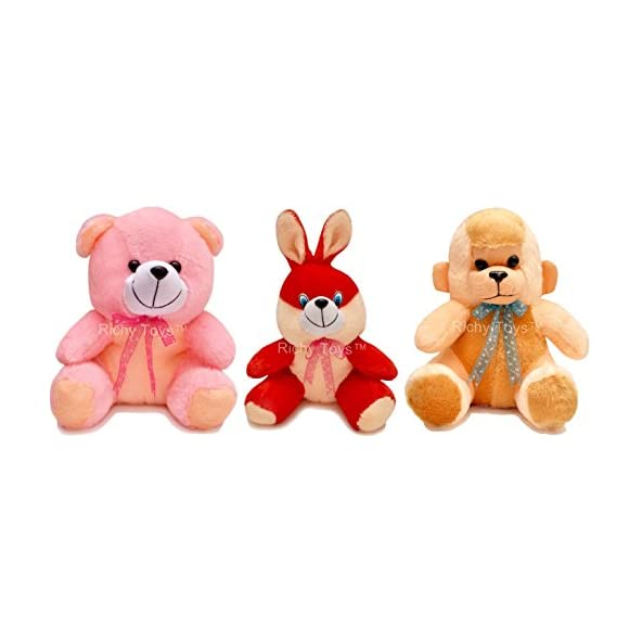 Babique 25 Cm Combo Rabbit Monkey And Teddy Soft Toy For Kids – Multi Color