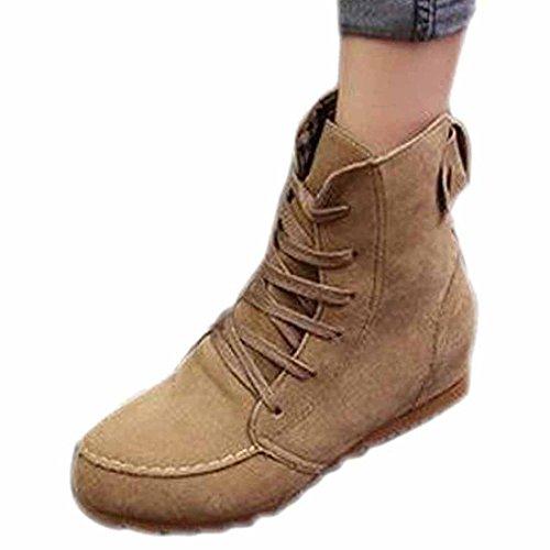 Suessigkeit-Farben-Frauen-Veloursleder-Schnuerstiefel Low-flache Ferse Erhoehte Short Stiefel Schuhe