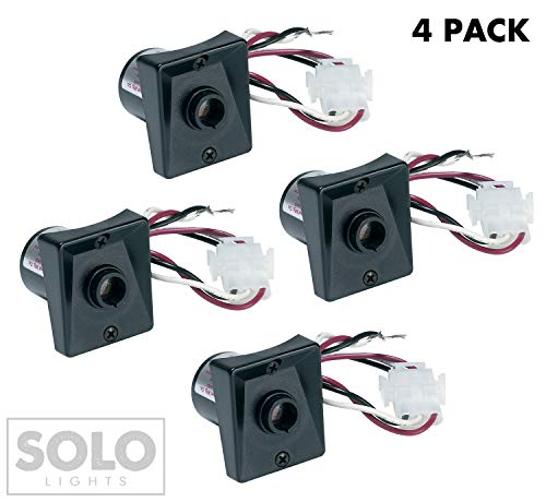Pack of 4: Solo Lights SPC-320 120V Automatic Dusk to Dawn Photocell Photo Control Light Sensor Switch for Hardwire Outdoor Lamp Posts with Ezee Change Plug, UL Listed, - Switch Hardwire