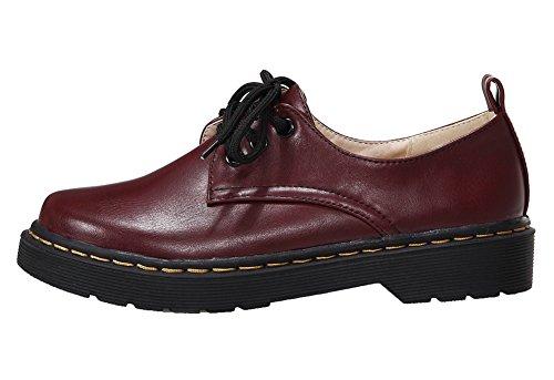 Amoonyfashion Womens Pu Ronde-teen Lage Hakken Veterschoen Stevige Pumps-schoenen Rood