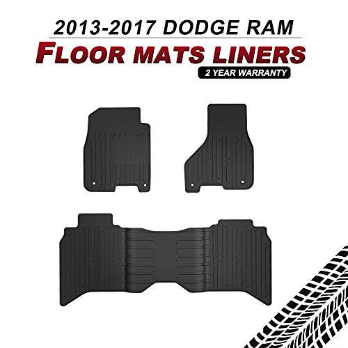 BUNKER INDUST Dodge Ram Floor Mats Liners Compatible for 2013-2017 Dodge Ram 1500 2500 3500 4500 5500 Crew Cab All Weather Protector TPE Front & Rear Row Floor Liners Black ()