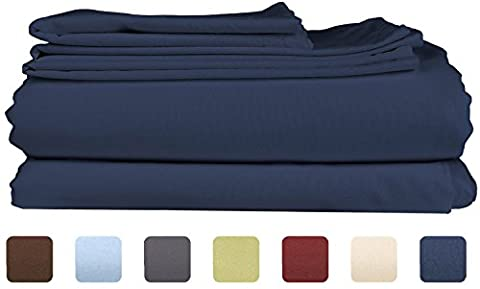 King Size Sheet Set - 6 Piece Set - Hotel Luxury Bed Sheets - Extra Soft - Deep Pockets - Easy Fit - Cooling Sheets - Wrinkle Free - Royal Blue - Navy Blue Bed Sheets - Kings Sheets - 6 - Blue Plush Mattress Set