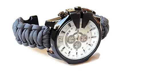 Gray big paracord wrist watch men Braid parachute strap excursion bracelet Husband dad Custom gift ()