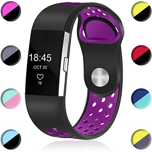 Wepro Bands Compatible with Fitbit Charge 2 HR for Men Women Girls Kids, Replacement Accessory with Air Holes, Large, Black on Plum