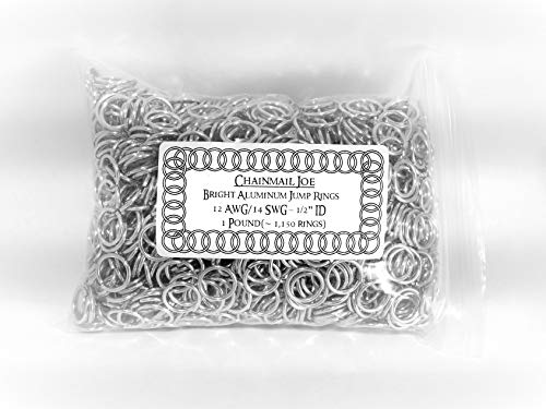 Chainmail Wire - 1 Pound Bright Aluminum Chainmail Jump Rings 14G 1/2