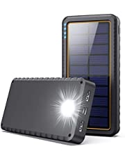 Solar Charger Power Bank 26800mAh, Solar Portable Panel Charger with 2 USB Outputs, Type C Input, LED Flashlight, Shockproof, Non-Slip, External Battery Pack Cellphone Backup for Apple iPhone, Samsung Galaxy Android,Tablet, Camping, Outdoor