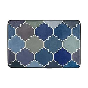 savsv Doormats alfombra alfombrillas antideslizante zapatos rasqueta con marroquí azul marino diseño elegante para el dormitorio entrada forma interior al aire libre 23,6x 15,7en