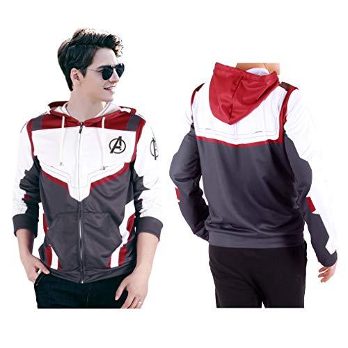 Sweatshirt Mens Kid - Superhero Cosplay Hoodie Quantum Hoodies 3D Printed Costume Zip Up Sweatshirt (Kids-S) Gray,White