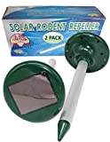 STRONG ARM UNLIMITED 2-Pack Solar Powered Mole Repeller Sonic Lawn Gopher Spike Vole Chaser Rat Scare Mouse Garden Rabbit Repellent Snake Yard Deterrent Chipmunk Ground Squirrel Rodent Control