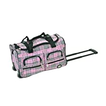 Rockland PRD422 Luggage Rolling Duffle Bag, Pink Cross Plaid, One Size, 22-Inch