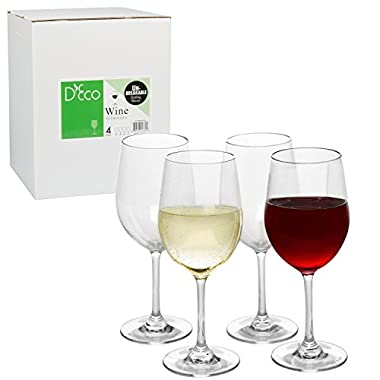 Unbreakable Wine Glasses - 100% Tritan - Shatterproof, Reusable, Dishwasher Safe (Set of 4) by D'Eco