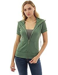 Women's Hoodie Zip Up Short Sleeve Jacket
