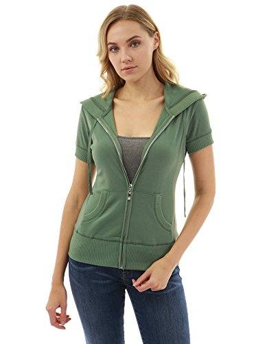 - PattyBoutik Women Hoodie Zip Up Short Sleeve Jacket (Green X-Large)