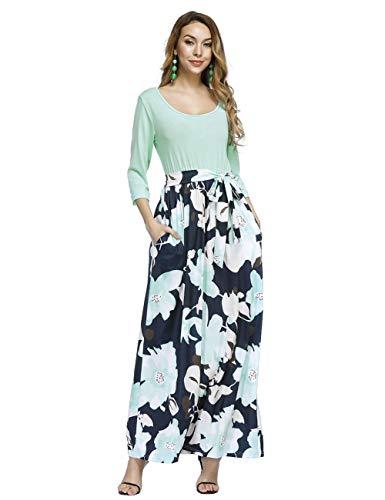 Avec Elégant Ete Feelingirl Vert xxl Femme Haute Manche Imprime Poche Maxi Col Sans Chic Taille Robe Longue S Rond l5FT1cuKJ3