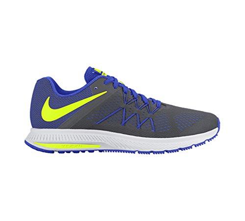 Nike Dames Zoom Winflo 3 Loopschoen Donkergrijs / Volt / Racer Blauw / Wit