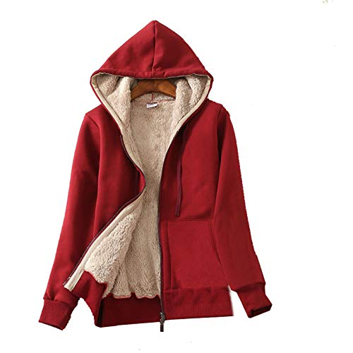 Flygo Women's Casual Warm Thick Sherpa Lined Full Zip Hooded Sweatshirt Jacket Outerwear (Large, Wine Red)