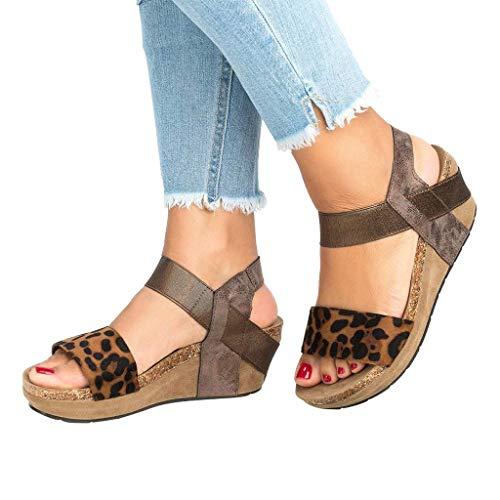 Women Sandals Summer Women Leopard Open Toe Strappy Wedge Leather Platform Shoes Roman Sandal (US:8.5, Khaki) ()