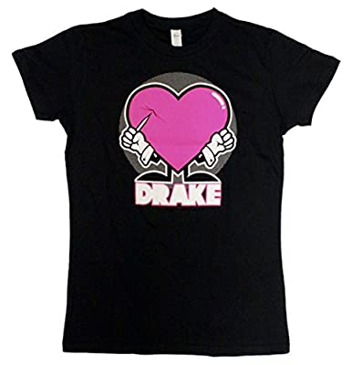 Drake Puncture Pink Heart Ladies Junior Fit T-Shirt
