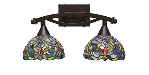 Toltec Lighting 172-BRZ-9905 Bow - Two Light Bath Bar, Bronze Finish with Kaleidoscope Tiffany Glass