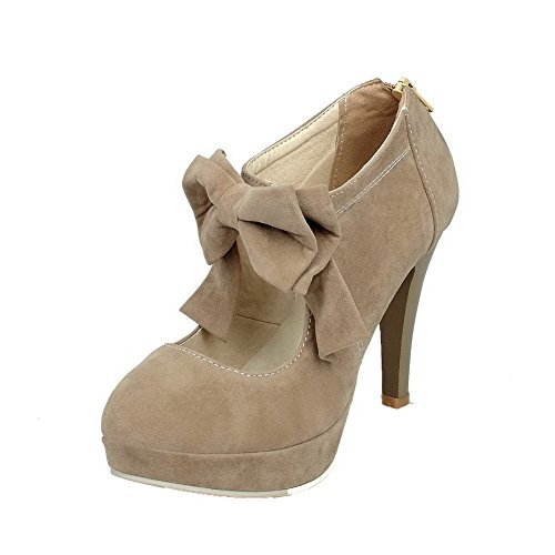 High Shoes Beige Round Toe On Women's AllhqFashion Pumps Solid Heels Pull Pu qOp0vw