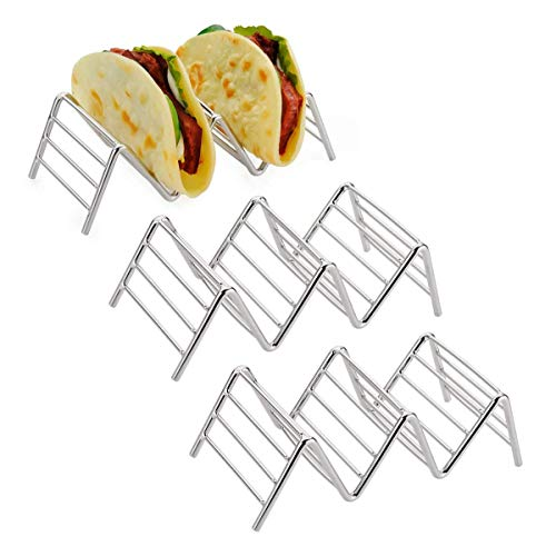 Amazer 3-Pack Taco Holder, Taco Stand Stainless Steel Rustproof Taco Rack Hold 2 or 3 Hard or Soft Taco Shells Taco Truck Tray Style Oven Safe for Baking